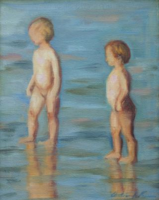 Young_boys_at_beach_Oil_2008_10x8
